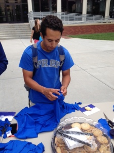 Cesar Torres making his re-useable bag!  Go Jays!